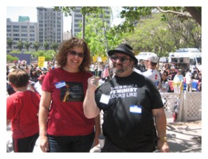 Sherry Lear (L), Jan B. Tucker (R) @ Miss Revolutionaries rally