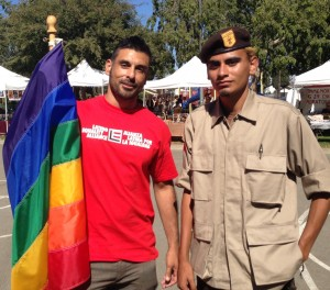 Eddie Martinez (L) with Brown Beret supporter of LGBTI equality