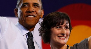 Sandra Fluke & Barack Obama at the 2012 Democratic Convention