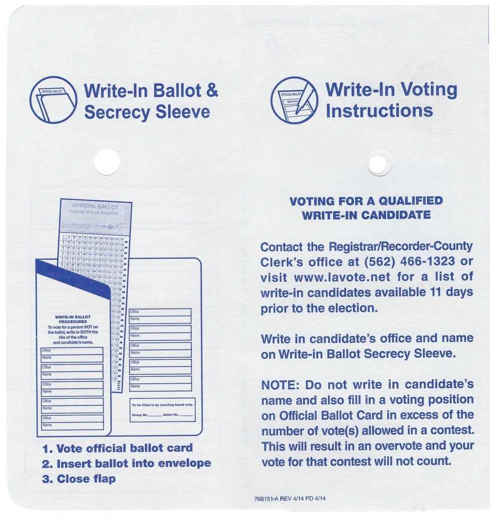 Note the instructions carefully; do NOT vote on the ballot for Board of Equalization District 3, only on the ballot envelope