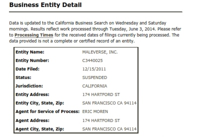 California Secretary of State Business Search Information