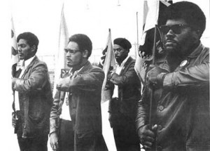 Big Man (far right), Black Panther demonstration, Oakland CA, July 1968. Photo courtesy of Pirkle Jones