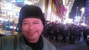 "Former LAPD officer & private investigator Alex ""Renegade Popo"" Salazar at NYC demo"