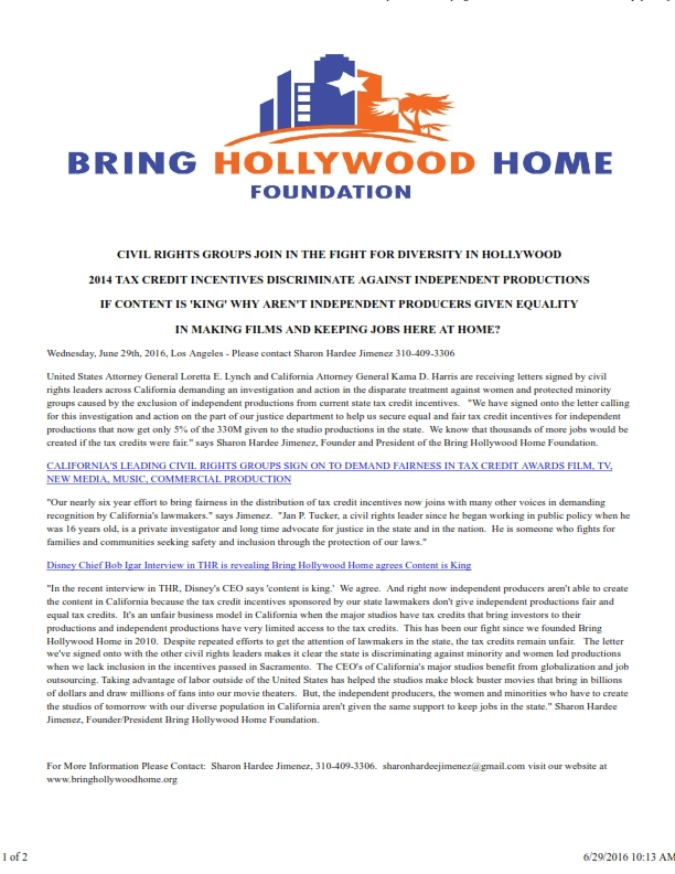 CIVIL RIGHTS GROUPS SIGN WITH BRING HOLLYWOOD HOME LETTERS_001