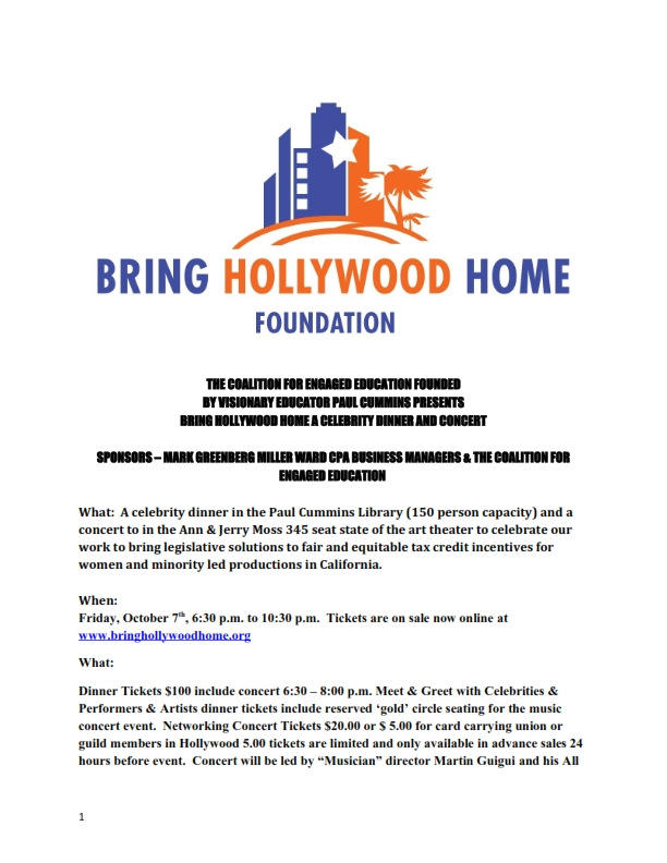 Flier Promoting October 7th concert & dinner to Bring Hollywood Home_001